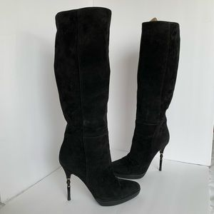 Gucci boots heels shoes black suede woman size 8